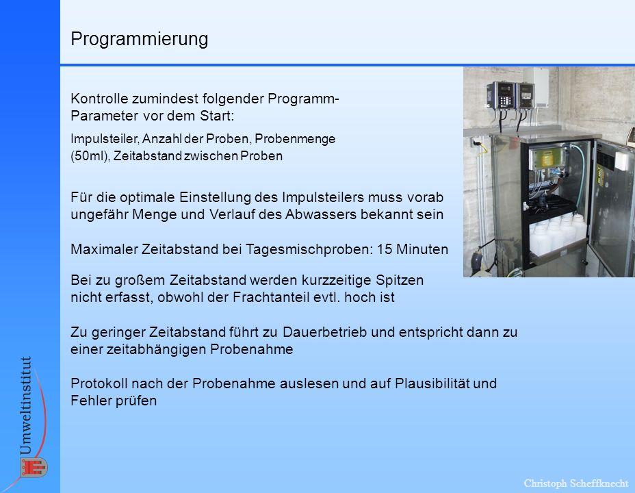 Programmierung Kontrolle zumindest folgender Programm-Parameter vor dem Start: