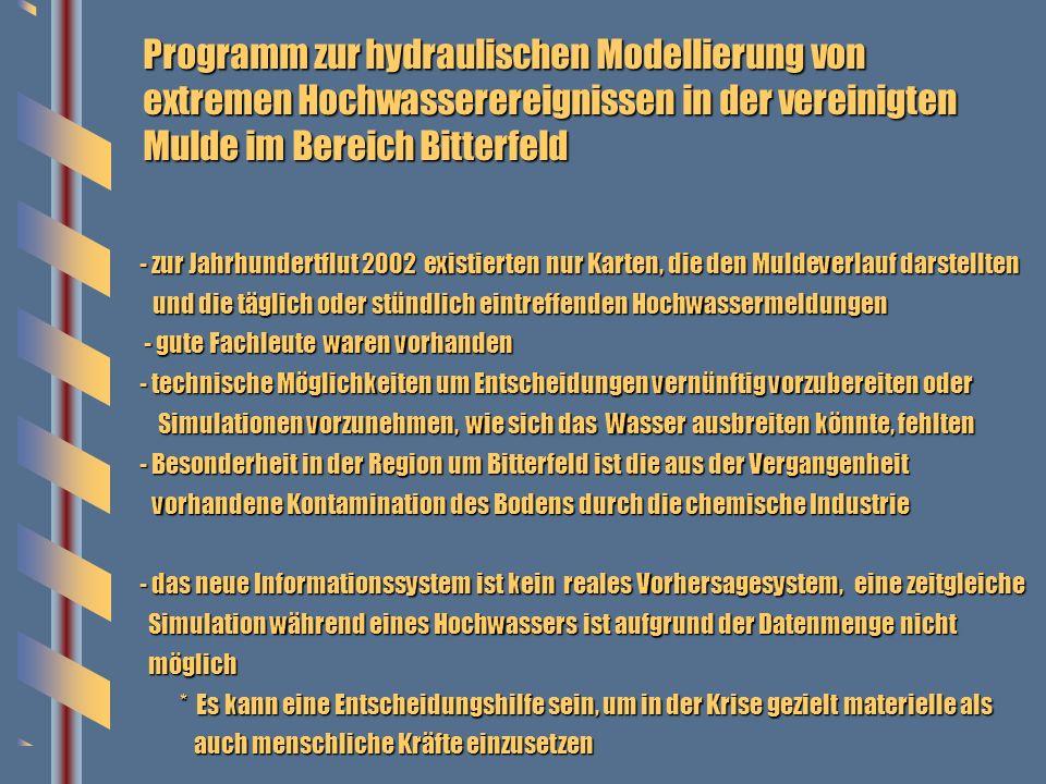 Programm zur hydraulischen Modellierung von extremen Hochwasserereignissen in der vereinigten Mulde im Bereich Bitterfeld