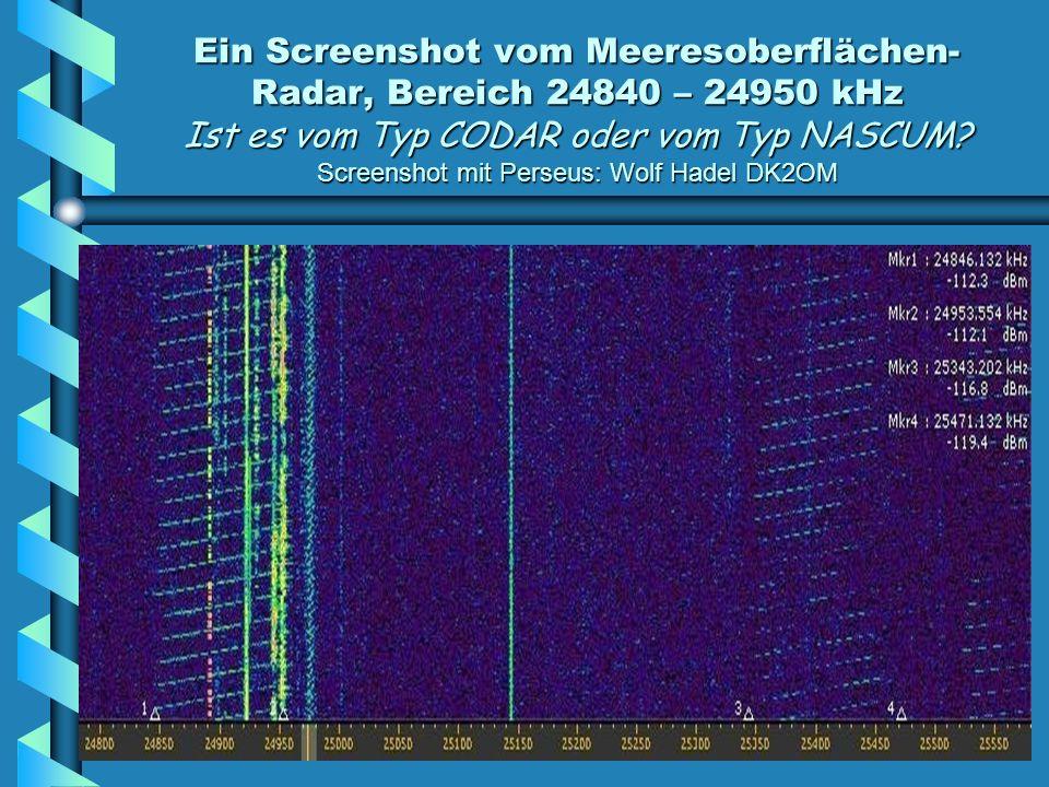 Ein Screenshot vom Meeresoberflächen-Radar, Bereich 24840 – 24950 kHz Ist es vom Typ CODAR oder vom Typ NASCUM.