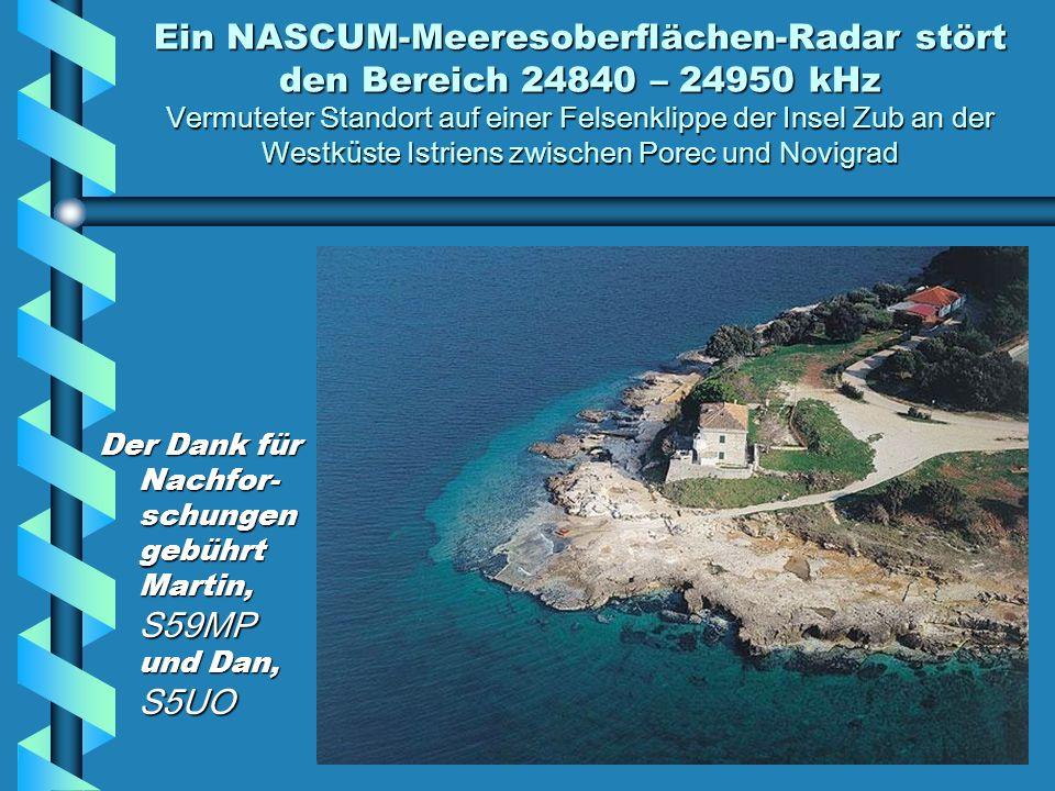 Ein NASCUM-Meeresoberflächen-Radar stört den Bereich 24840 – 24950 kHz Vermuteter Standort auf einer Felsenklippe der Insel Zub an der Westküste Istriens zwischen Porec und Novigrad
