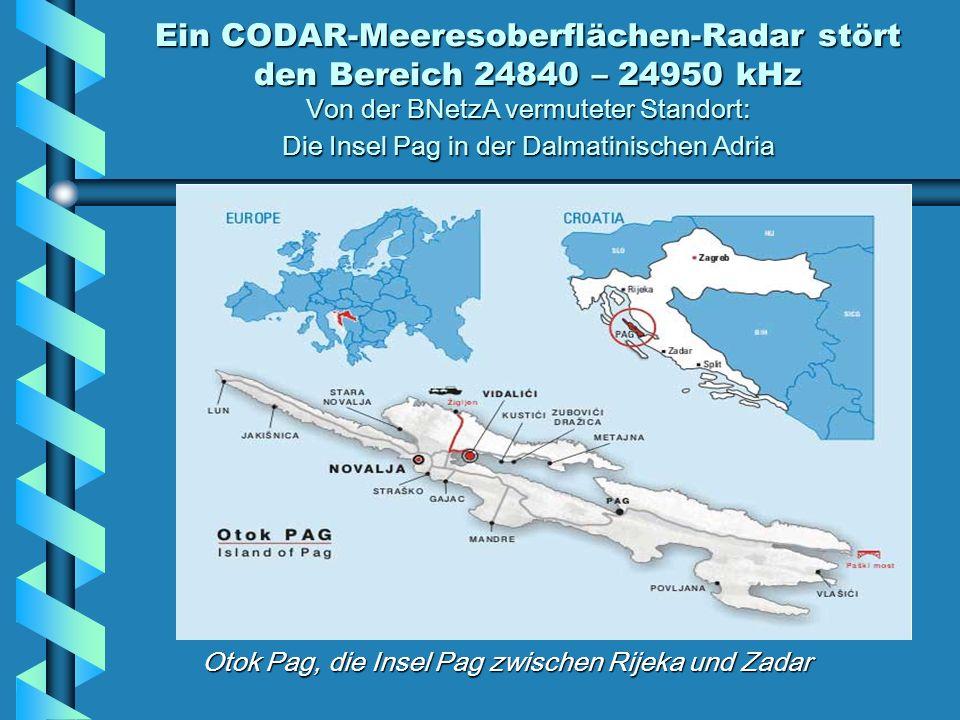 Ein CODAR-Meeresoberflächen-Radar stört den Bereich 24840 – 24950 kHz Von der BNetzA vermuteter Standort: Die Insel Pag in der Dalmatinischen Adria