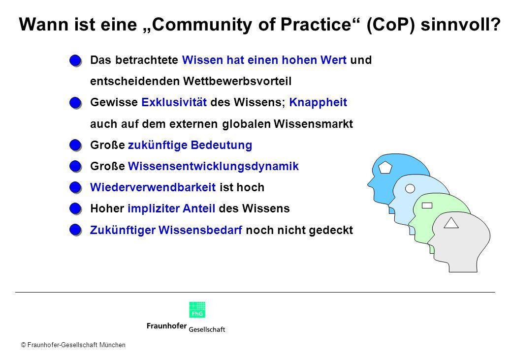"""Wann ist eine """"Community of Practice (CoP) sinnvoll"""