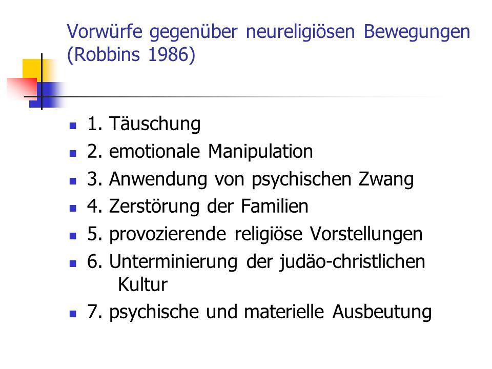 Vorwürfe gegenüber neureligiösen Bewegungen (Robbins 1986)