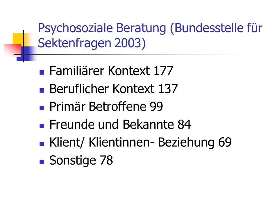 Psychosoziale Beratung (Bundesstelle für Sektenfragen 2003)