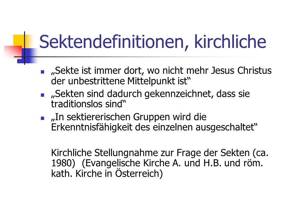 Sektendefinitionen, kirchliche
