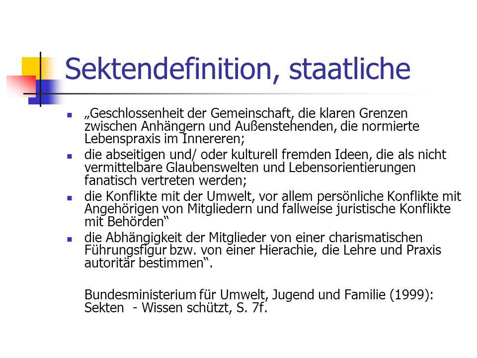 Sektendefinition, staatliche