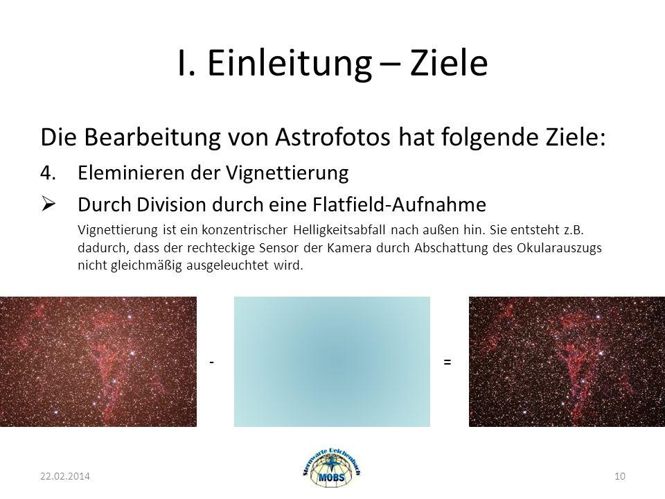 I. Einleitung – Ziele Die Bearbeitung von Astrofotos hat folgende Ziele: 4. Eleminieren der Vignettierung.