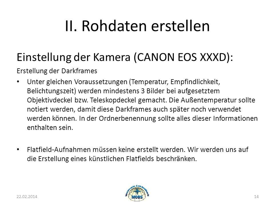 II. Rohdaten erstellen Einstellung der Kamera (CANON EOS XXXD):