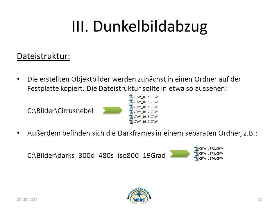 III. Dunkelbildabzug Dateistruktur: