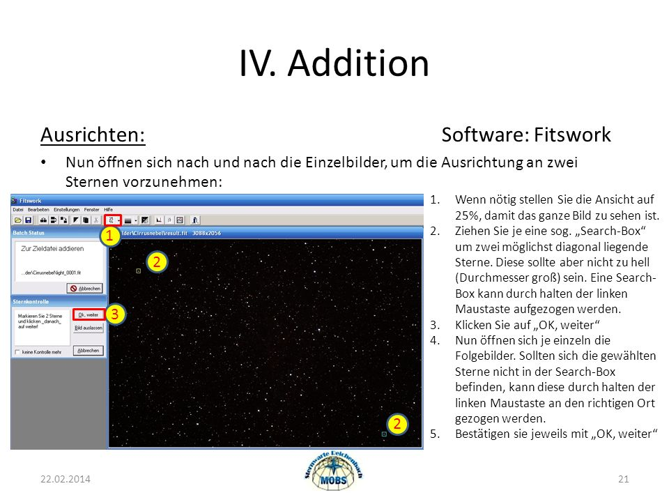 IV. Addition Ausrichten: Software: Fitswork