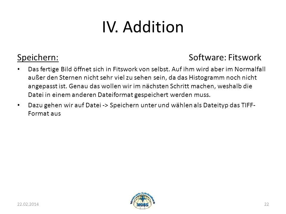 IV. Addition Speichern: Software: Fitswork
