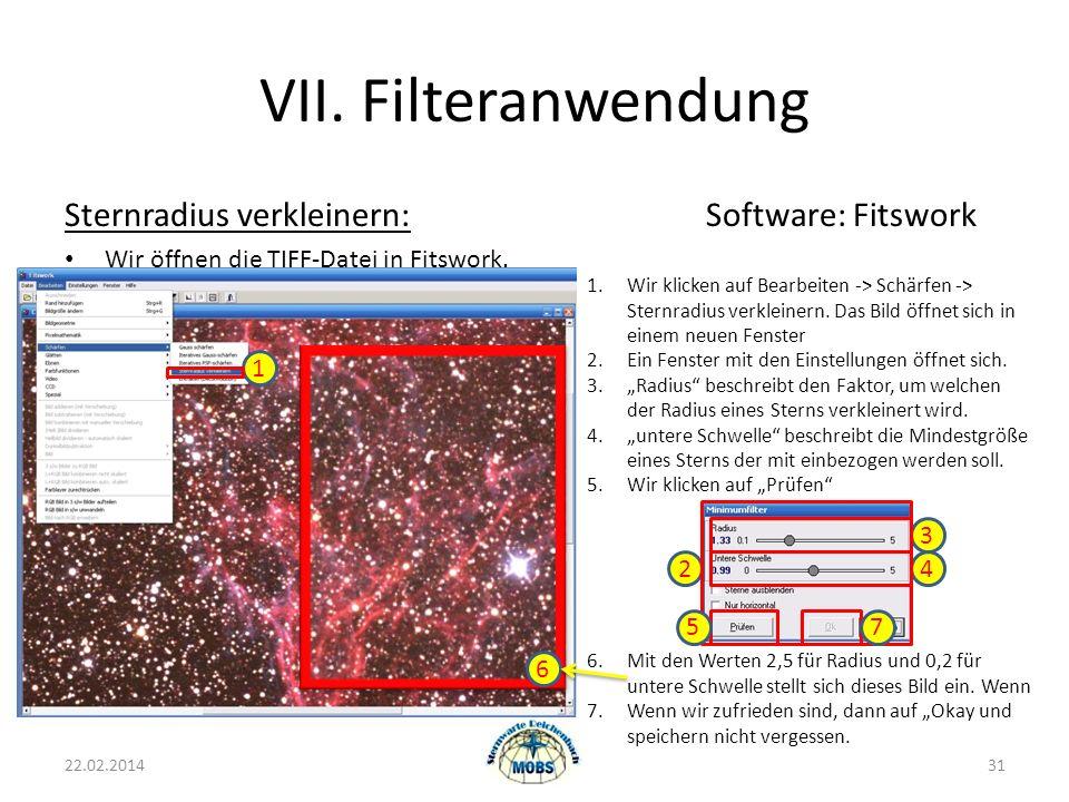 VII. Filteranwendung Sternradius verkleinern: Software: Fitswork