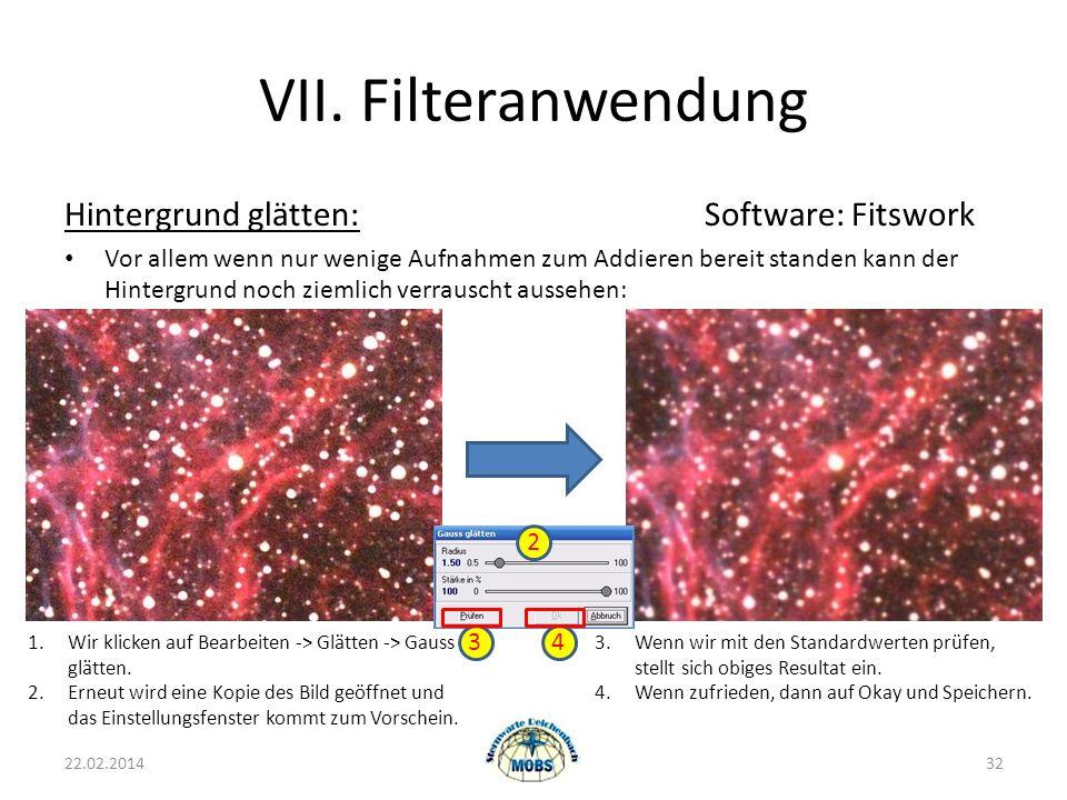 VII. Filteranwendung Hintergrund glätten: Software: Fitswork