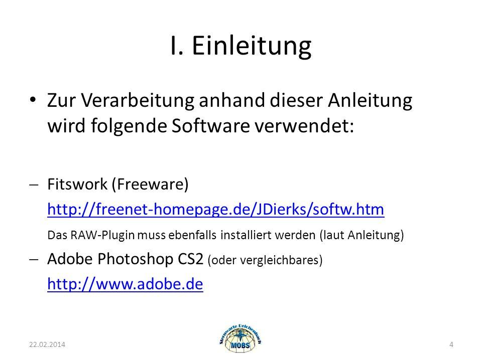 I. Einleitung Zur Verarbeitung anhand dieser Anleitung wird folgende Software verwendet: Fitswork (Freeware)