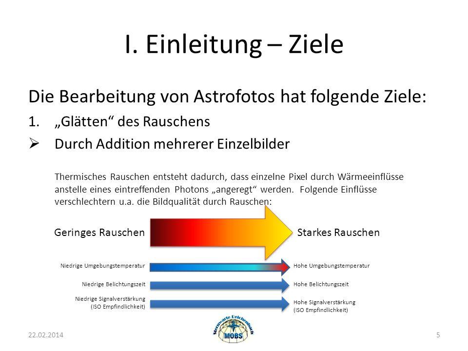 """I. Einleitung – Ziele Die Bearbeitung von Astrofotos hat folgende Ziele: 1. """"Glätten des Rauschens."""