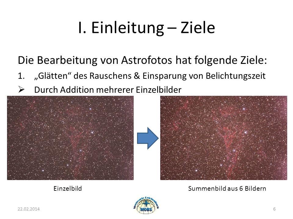 """I. Einleitung – Ziele Die Bearbeitung von Astrofotos hat folgende Ziele: """"Glätten des Rauschens & Einsparung von Belichtungszeit."""