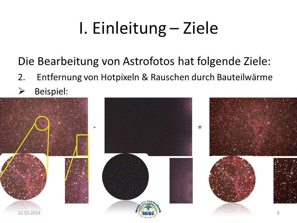 I. Einleitung – Ziele Die Bearbeitung von Astrofotos hat folgende Ziele: 2. Entfernung von Hotpixeln & Rauschen durch Bauteilwärme.