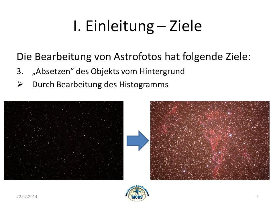 """I. Einleitung – Ziele Die Bearbeitung von Astrofotos hat folgende Ziele: 3. """"Absetzen des Objekts vom Hintergrund."""
