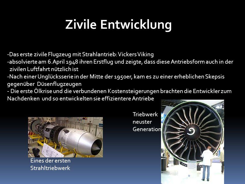 Zivile EntwicklungDas erste zivile Flugzeug mit Strahlantrieb: Vickers Viking.