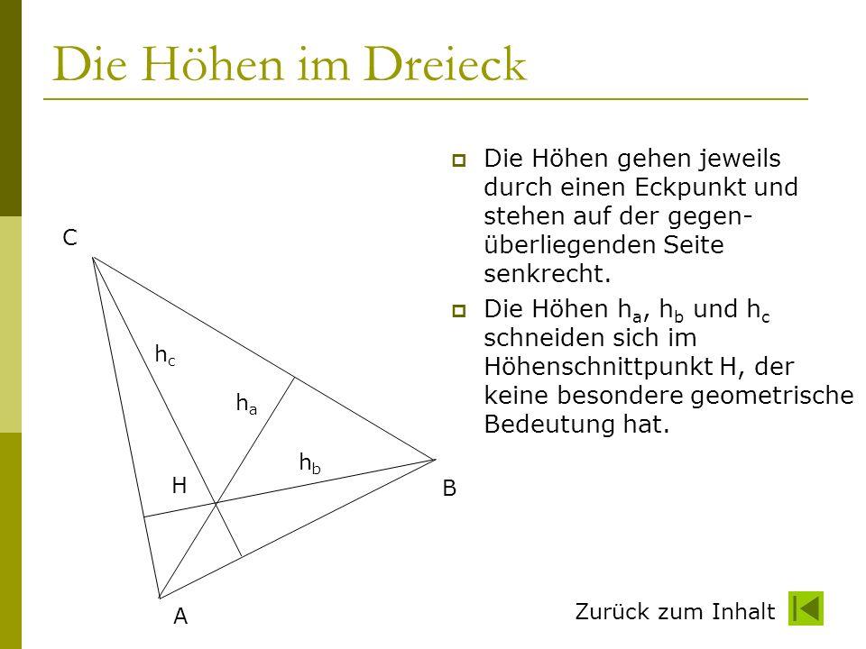 Die Höhen im Dreieck Die Höhen gehen jeweils durch einen Eckpunkt und stehen auf der gegen-überliegenden Seite senkrecht.