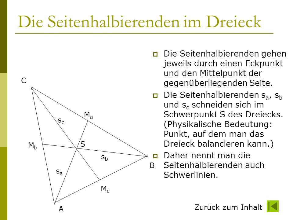 Die Seitenhalbierenden im Dreieck