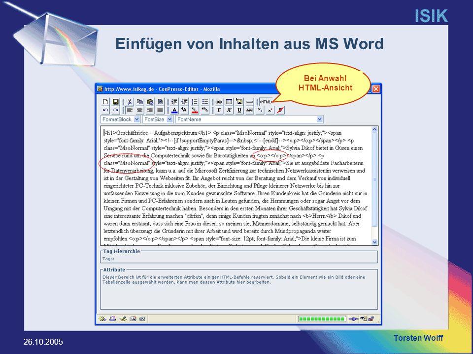 Einfügen von Inhalten aus MS Word