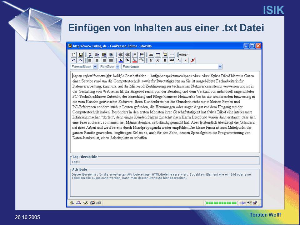 Einfügen von Inhalten aus einer .txt Datei
