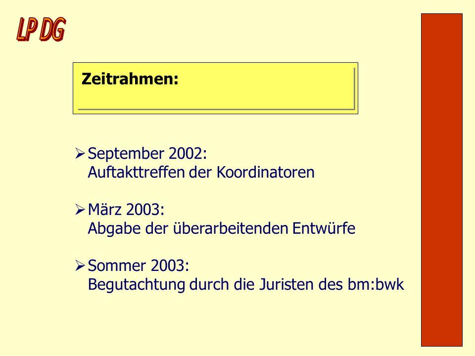 LP DG Zeitrahmen: September 2002: Auftakttreffen der Koordinatoren