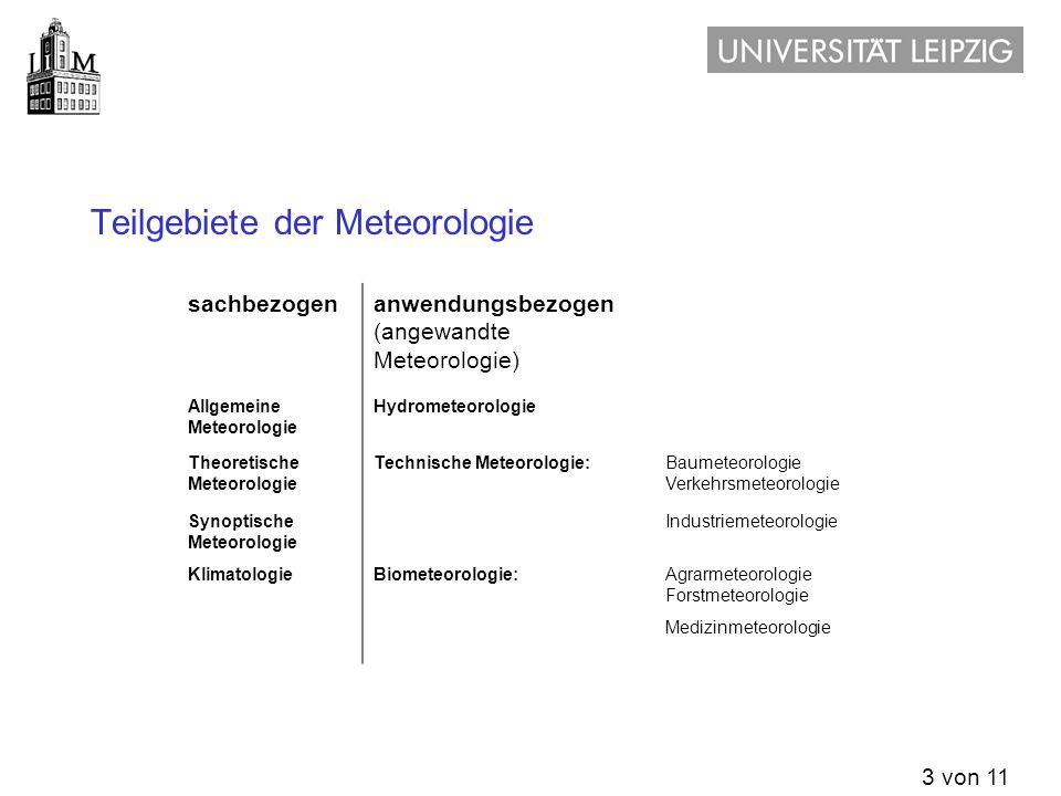 Teilgebiete der Meteorologie