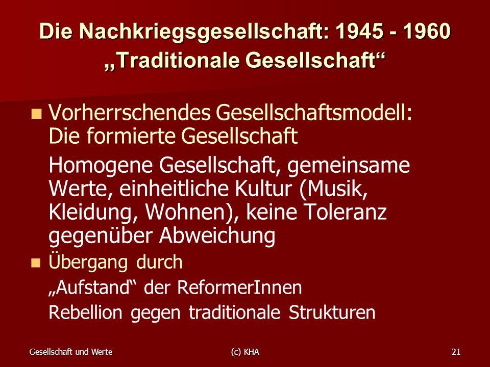 """Die Nachkriegsgesellschaft: 1945 - 1960 """"Traditionale Gesellschaft"""