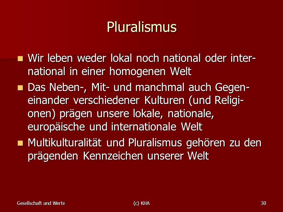 Pluralismus Wir leben weder lokal noch national oder inter-national in einer homogenen Welt.