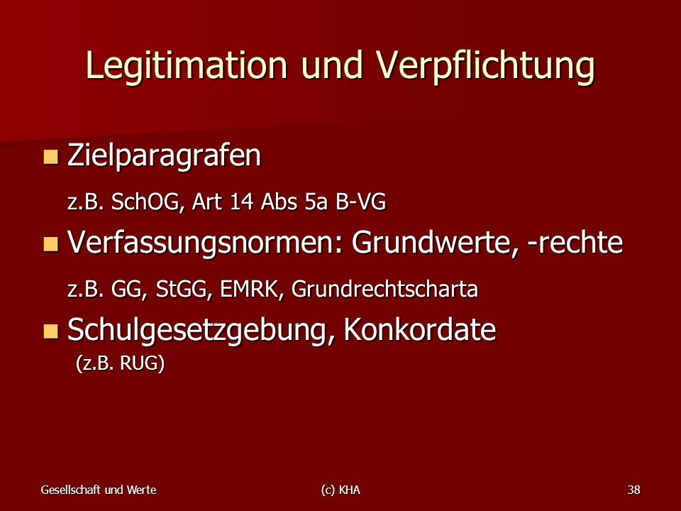 Legitimation und Verpflichtung