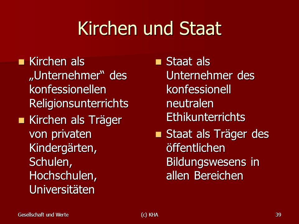 """Kirchen und Staat Kirchen als """"Unternehmer des konfessionellen Religionsunterrichts."""
