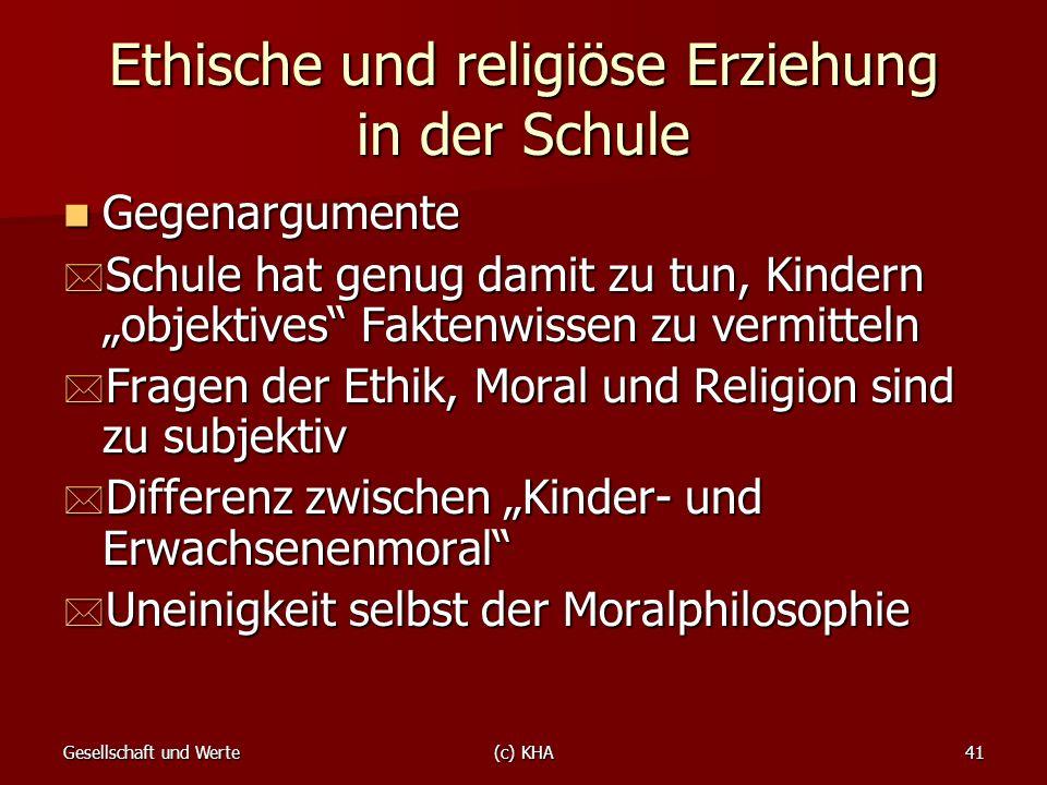 Ethische und religiöse Erziehung in der Schule