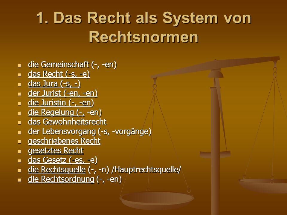 1. Das Recht als System von Rechtsnormen