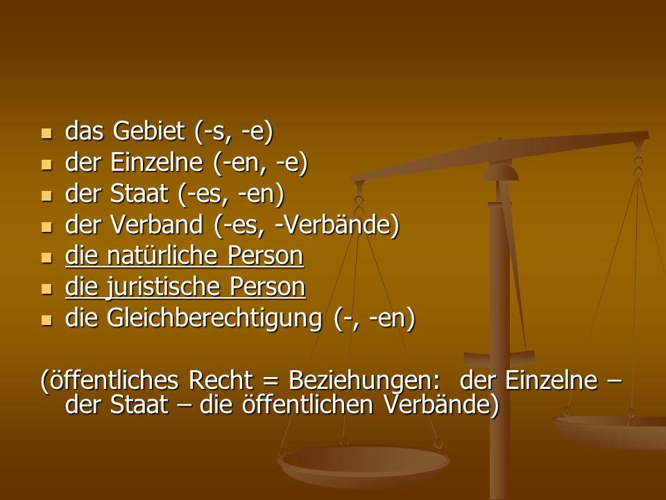 das Gebiet (-s, -e)der Einzelne (-en, -e) der Staat (-es, -en) der Verband (-es, -Verbände) die natürliche Person.