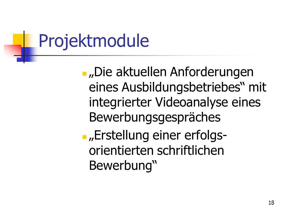 """Projektmodule """"Die aktuellen Anforderungen eines Ausbildungsbetriebes mit integrierter Videoanalyse eines Bewerbungsgespräches."""