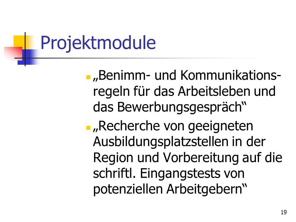 """Projektmodule """"Benimm- und Kommunikations-regeln für das Arbeitsleben und das Bewerbungsgespräch"""