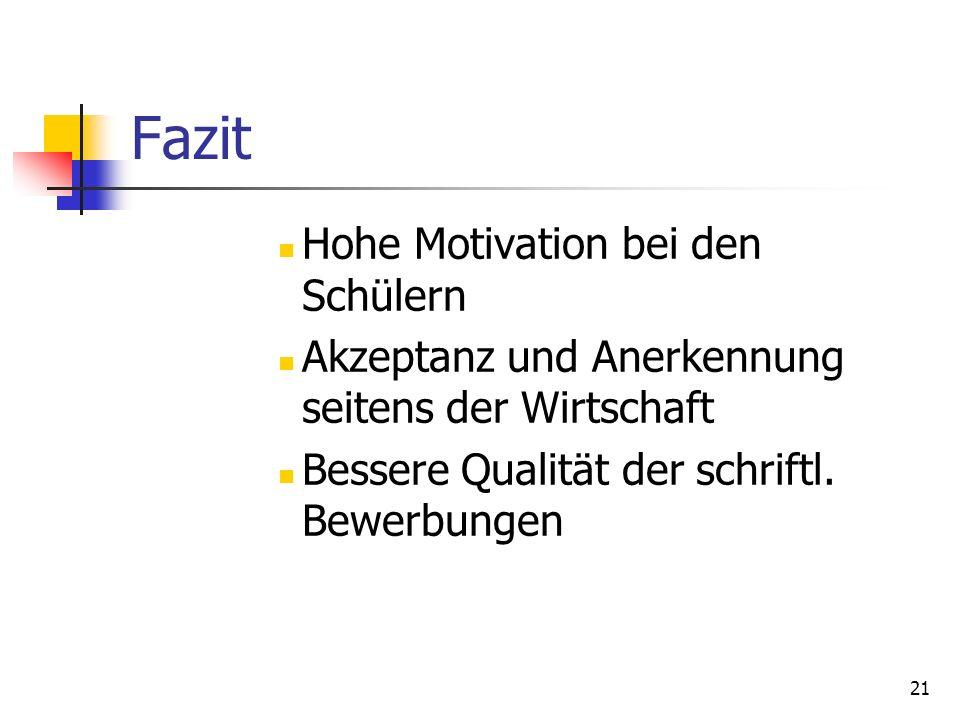 Fazit Hohe Motivation bei den Schülern