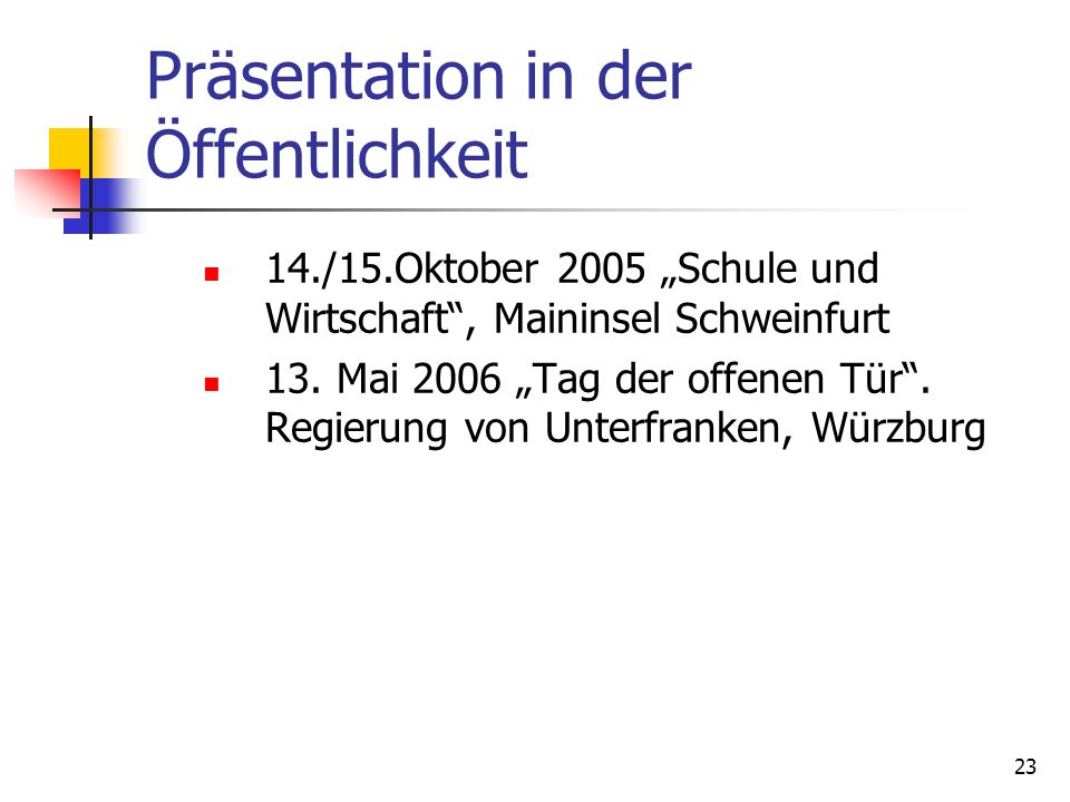 Präsentation in der Öffentlichkeit