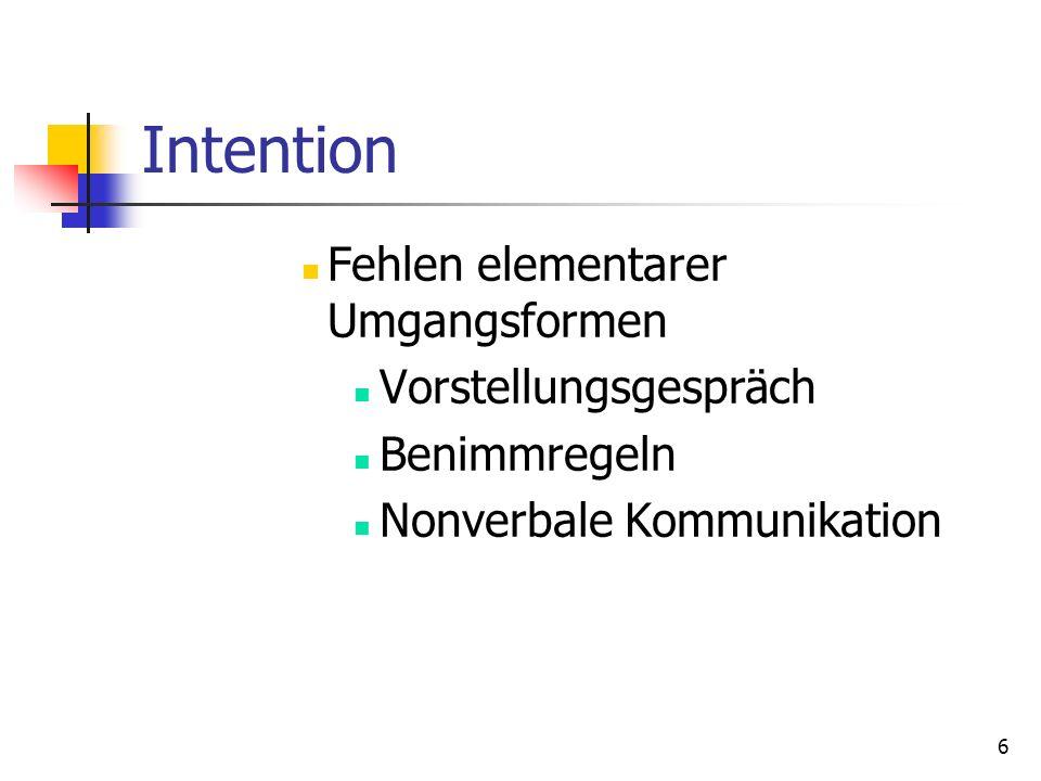 Intention Fehlen elementarer Umgangsformen Vorstellungsgespräch