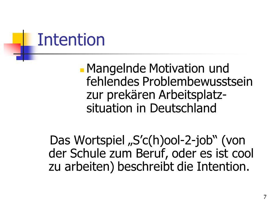 Intention Mangelnde Motivation und fehlendes Problembewusstsein zur prekären Arbeitsplatz-situation in Deutschland.