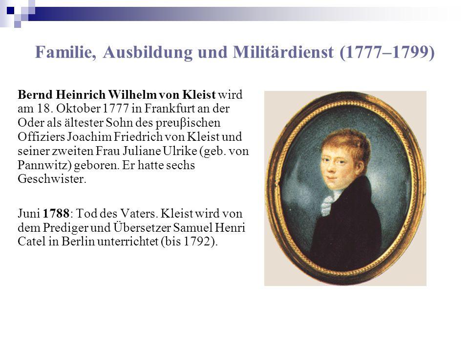 Familie, Ausbildung und Militärdienst (1777–1799)