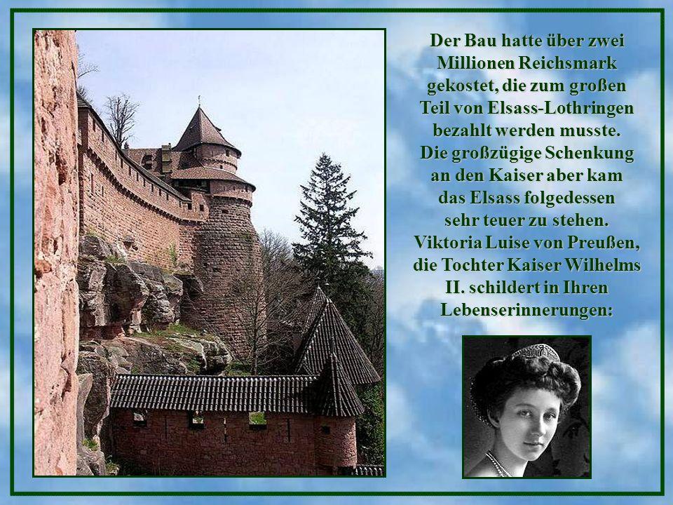 Der Bau hatte über zwei Millionen Reichsmark gekostet, die zum großen Teil von Elsass-Lothringen bezahlt werden musste.