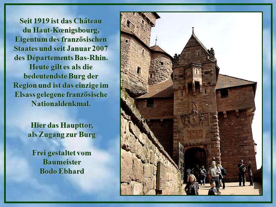 Seit 1919 ist das Château du Haut-Kœnigsbourg, Eigentum des französischen Staates und seit Januar 2007 des Départements Bas-Rhin. Heute gilt es als die bedeutendste Burg der Region und ist das einzige im Elsass gelegene französische Nationaldenkmal.