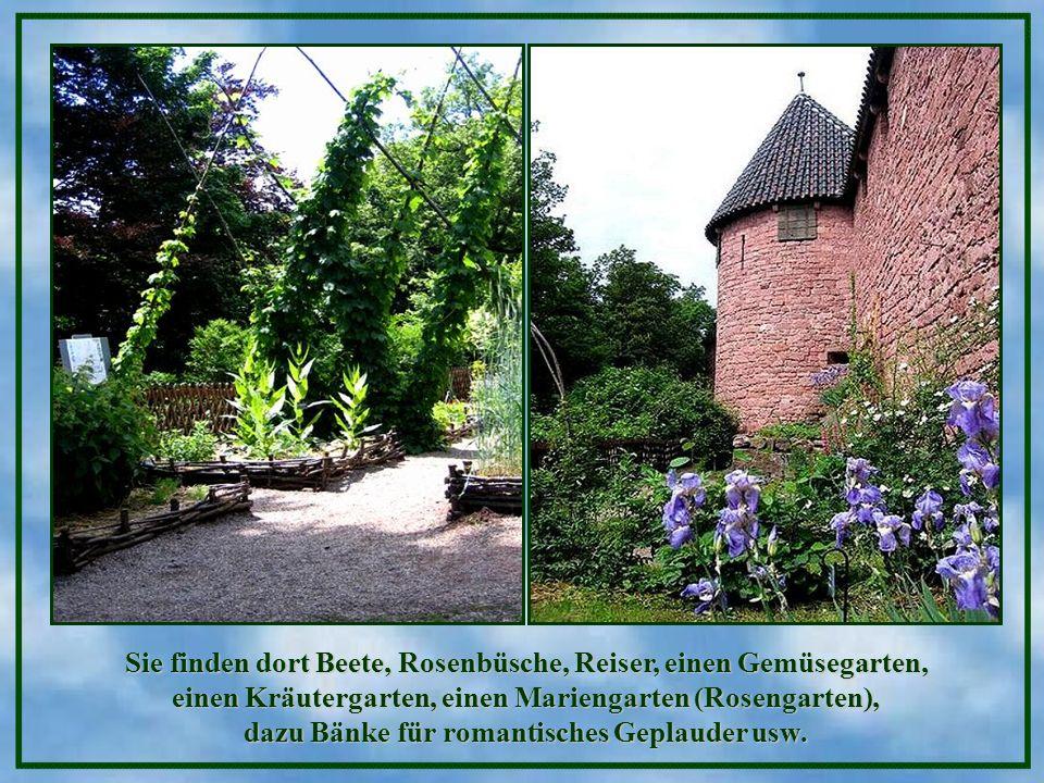 Sie finden dort Beete, Rosenbüsche, Reiser, einen Gemüsegarten, einen Kräutergarten, einen Mariengarten (Rosengarten), dazu Bänke für romantisches Geplauder usw.