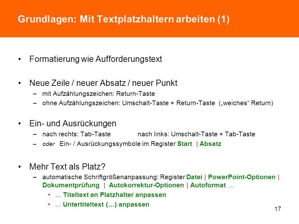 Grundlagen: Mit Textplatzhaltern arbeiten (1)