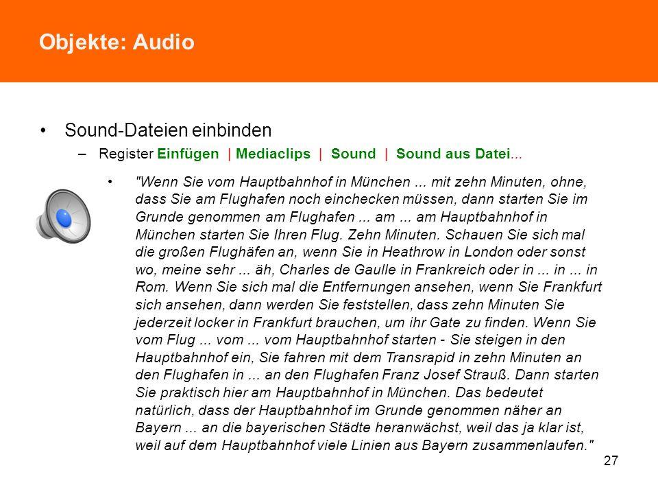 Objekte: Audio Sound-Dateien einbinden