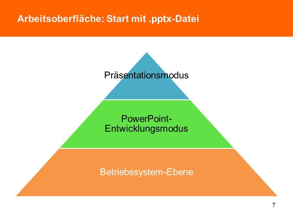 Arbeitsoberfläche: Start mit .pptx-Datei