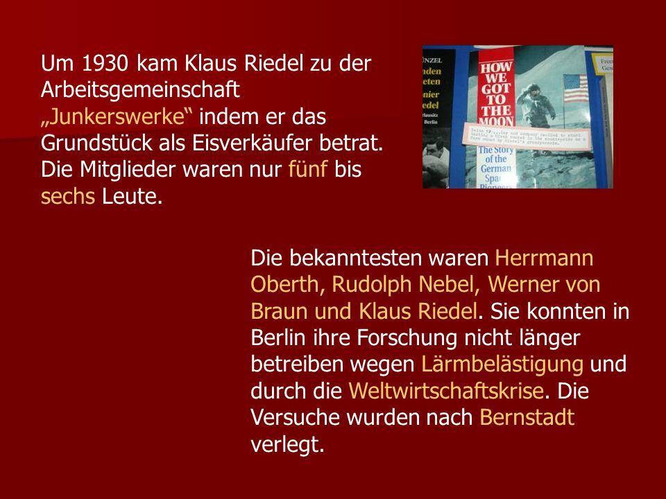 """Um 1930 kam Klaus Riedel zu der Arbeitsgemeinschaft """"Junkerswerke indem er das Grundstück als Eisverkäufer betrat. Die Mitglieder waren nur fünf bis sechs Leute."""
